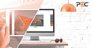 Laptop und Desktop Computer mit Sonnenbrille
