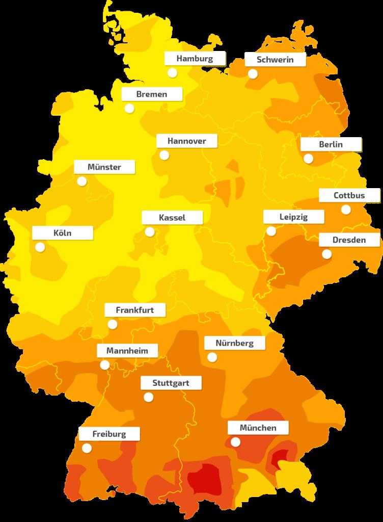 Globalstrahlungskarte für Photovoltaik