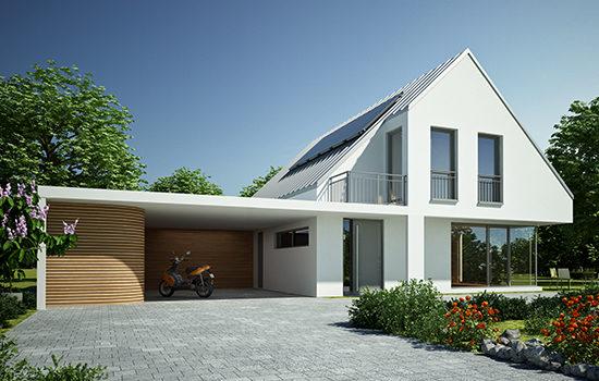 Modernes Haus bei Tag mit Roller